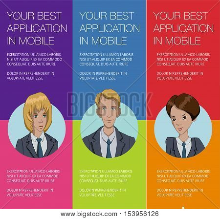 Vector colorful banner with business people. Set of vertical banner for advertisement. Vector office people talking. Banner for presentation product, service, startup. Web banner with ballon talk