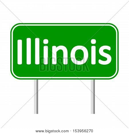 Illinois green road sign isolated on white background