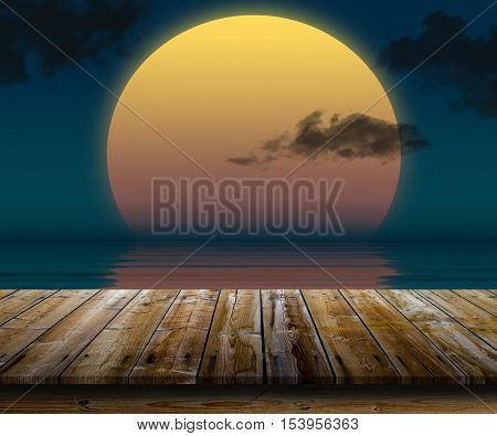 Illustration of big sun reflected in the water with table