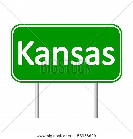 Kansas green road sign isolated on white background