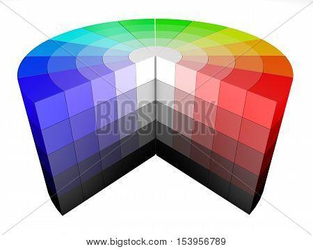 3d color colors wheel representing HSV HSB rendering render