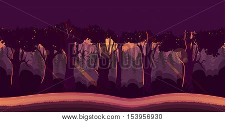 Background for games apps or mobile development. Cartoon nature landscape with forest. Vector illustration for design graphics print or book . Stock illustration.