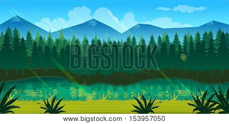 spring forest landscape, never ending vector nature background with separated layers for game design .2d game application. Vector Illustration for your application , project.