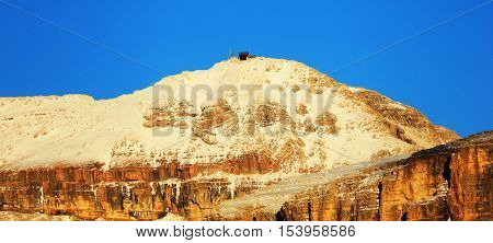 Piz Boe (3152m) - view of top of Sella gruppe or Gruppo di Sella, South Tirol, Dolomites mountains, Italy