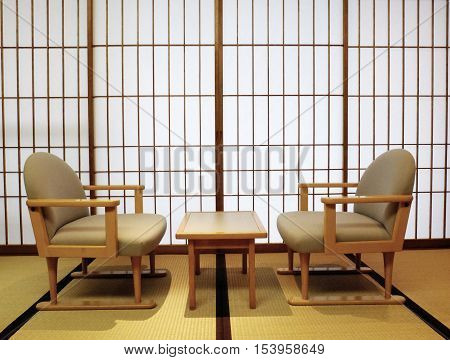 Japanese room: Tatami shoji sliding doors table and chairs