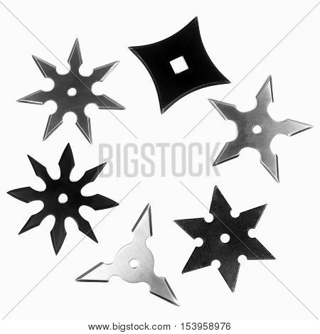 Different shapes of shurikens isolated on white background.