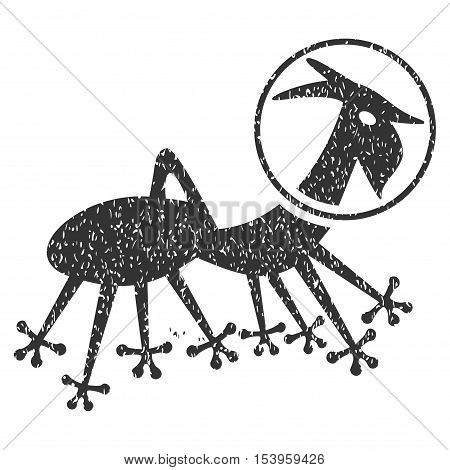 Alien Creature Skafandr grainy textured icon for overlay watermark stamps. Flat symbol with dirty texture. Dotted glyph gray ink rubber seal stamp with grunge design on a white background.
