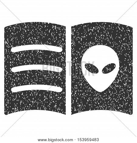 Alien Face Book grainy textured icon for overlay watermark stamps. Flat symbol with dust texture. Dotted glyph gray ink rubber seal stamp with grunge design on a white background.