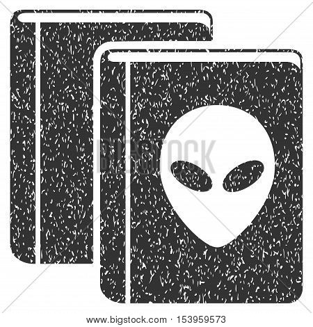 Alien Library grainy textured icon for overlay watermark stamps. Flat symbol with scratched texture. Dotted glyph gray ink rubber seal stamp with grunge design on a white background.
