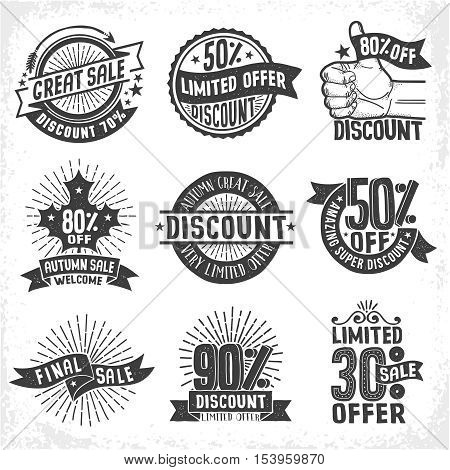 Discounts seasonal sales logo labels badges. Limited Offer. Vintage retro vector monochrome illustration. Grunge texture on a separate layer.