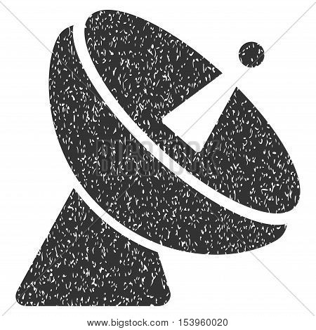 Radio Telescope grainy textured icon for overlay watermark stamps. Flat symbol with unclean texture. Dotted glyph gray ink rubber seal stamp with grunge design on a white background.