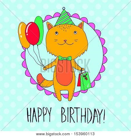 Birthday Card With Cat With Presents And Balloons