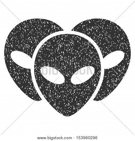 Visitor Heads grainy textured icon for overlay watermark stamps. Flat symbol with unclean texture. Dotted glyph gray ink rubber seal stamp with grunge design on a white background.