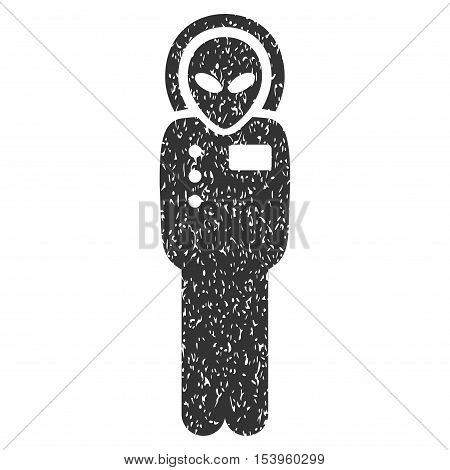 Visitor Skafandr grainy textured icon for overlay watermark stamps. Flat symbol with dirty texture. Dotted glyph gray ink rubber seal stamp with grunge design on a white background.