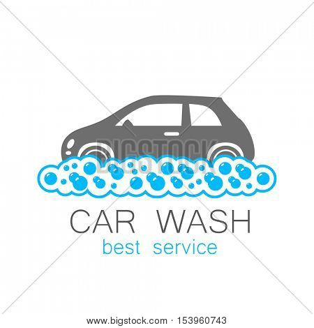 CAR WASH. Template concept logo car wash on white background. Vector illustration.