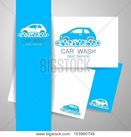 CAR WASH. Identity template concept car wash service. Vector illustration.