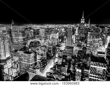 New York skyline in the night, Black and White