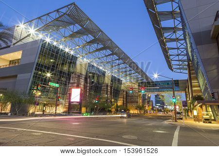 Convention Center in Downtown Phoenix Arizona at Monroe and 3rd Street at twilight.