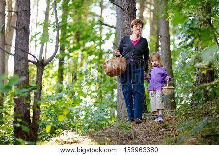 Grandmother And Her Granddaughter Picking Berries