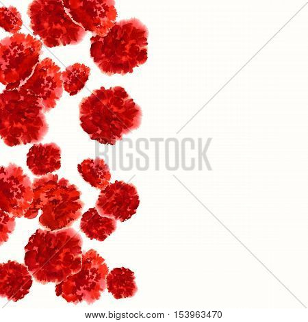 Carnation Red watercolor pattern of hand-drawn flowers.