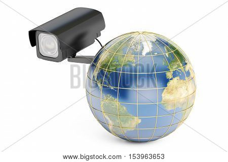 Global security system concept earth with security camera. 3D rendering