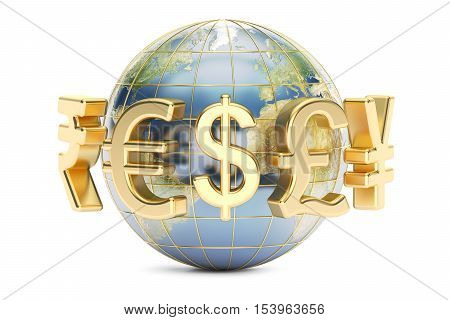 Globe with currency symbols 3D rendering isolated on white background