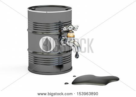 oil concept oil barrel and tap. 3D rendering isolated on white background