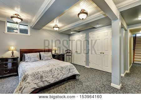 Gray Bedroom Interior Downstairs