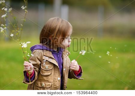 Adorable Girl Blowing Off Dandelion