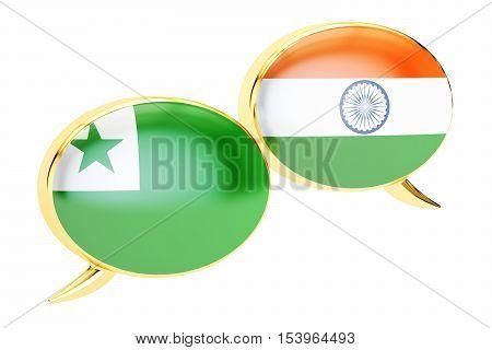 Speech bubbles Indian-Esperanto conversation concept. 3D rendering