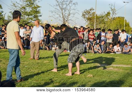 Istanbul Turkey - October 2 2016: The Central Asian Turkmen meadow wrestling held in Istanbul. Zeytinburnu district of Istanbul in the meadow Turkmen Uzbek Afghan Tatar Kyrgyz and other Central Asian Turkmen done wrestling.