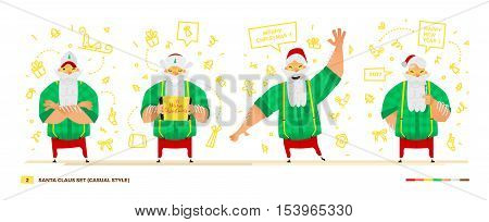 Vector illustration Santa Claus set for your design. Four old men characters. Christmas and New Year theme. Casual green shirt apparel style
