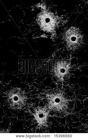 Bullet Holes In Glass Background