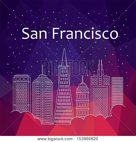 San Francisco for banner, poster, illustration, game, background. Vector San Francisco - snow is falling. Night life of San Francisco. Hackathon, workshop, training in San Francisco. Holiday in San Francisco