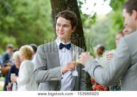 Wedding guests toasting happy bride and groom