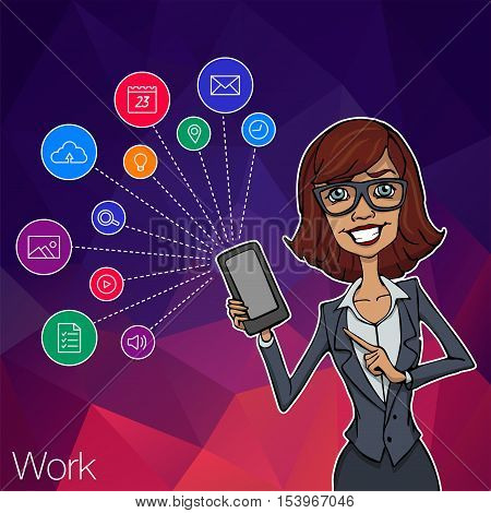 Vector woman with mobile smartphone app on white background. Woman with mobile app, startup, website. Cloud service, social network and technology with notification. Mobile notification of hackathon