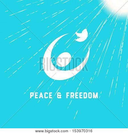 Peace symbol. Peaceful dove sign. Pacifist logo. Freedom emblem concept. Design idea for social protest banner. Template for poster background. People icon. Vector illustration