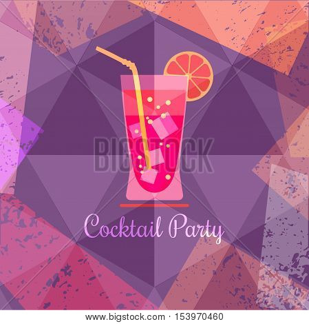 Drink concept. Cocktail Party Invitation Poster. Abstract fresh liquor in glass. Design idea for background of banner with refreshing citrus cool beverage. Vintage grunge style. Vector illustration