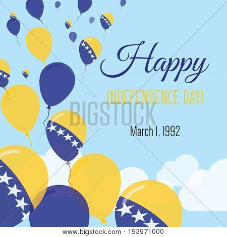 Independence Day Flat Greeting Card. Bosnia and Herzegovina Independence Day. Bosnian Herzegovinian Flag Balloons Patriotic Poster. Happy National Day Vector Illustration. poster
