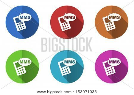 Flat design vector mms icons. Web and app buttons.