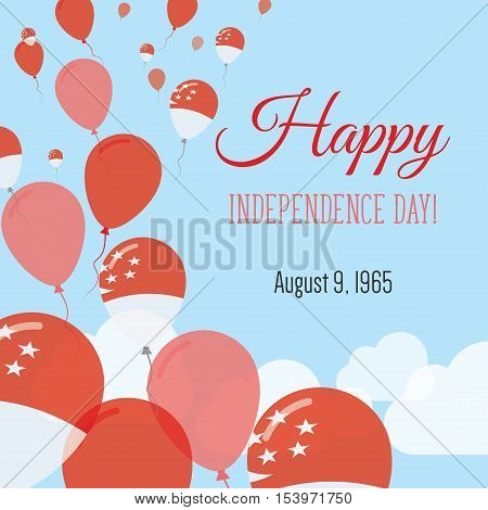 Independence Day Flat Greeting Card. Singapore Independence Day. Singaporean Flag Balloons Patriotic