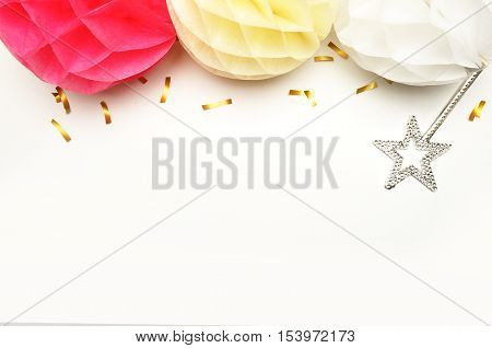 Paper colorful balls. Table view and mock-up background. Wedding background. Confetti and stars. Flat lay. Magic wand star.
