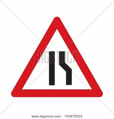 Traffic sign road narrows. Web icon. Vector illustration.