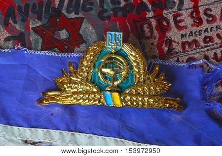 ILLUSTRATIVE EDITORIAL.Medical cockade of Ukrainian Army.October 27,2016,Kiev, Ukraine