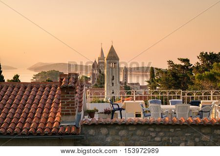 View of the town of Rab Croatian tourist resort famous for its four bell towers.