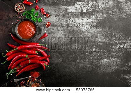 spicy chili sauce, tomato ketchup with fresh peppers