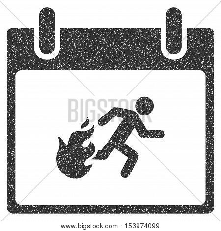 Fire Evacuation Man Calendar Day grainy textured icon for overlay watermark stamps. Flat symbol with scratched texture.
