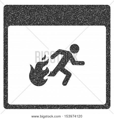 Fire Evacuation Man Calendar Page grainy textured icon for overlay watermark stamps. Flat symbol with scratched texture.