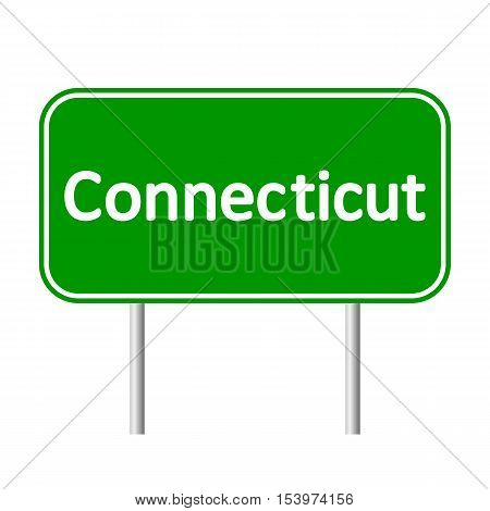 Connecticut green road sign isolated on white background