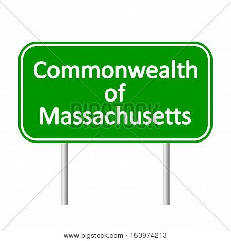 Massachusetts green road sign isolated on white background